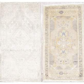 Bloomsbury Market One-of-a-Kind Northstate Antique-Washed Muted Turkish 2 Piece Hand-Knotted 3' 4'' x 1' 9'', 3' 4'' x 1' 9'' Wool Beige/Ivory Area Rug Set Bloomsbury M