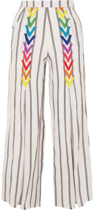 Off-White All Things Mochi - Andrea Embroidered Striped Linen Wide-leg Pants