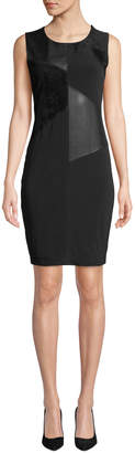 Iconic American Designer Faux Leather & Suede Panel Sleeveless Dress