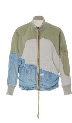 Greg Lauren Army Denim Hi Tech Zip Jacket