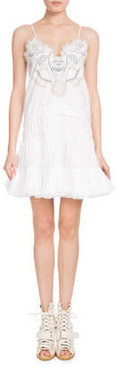 Chloé Sleeveless Thin-Strap Blossom-Embroidered Cotton Voile Dress
