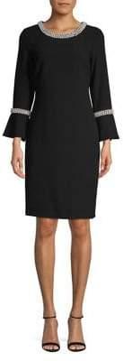 Karl Lagerfeld Paris Faux Pearl Embellished Sheath Dress