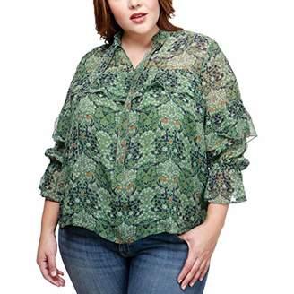 Lucky Brand Women's High Neck Ruffle Plus-Size Blouse