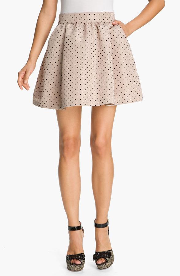 RED Valentino Flocked Polka Dot Skirt