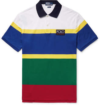 Polo Ralph Lauren Hi Tech Striped Cotton-Jersey Polo Shirt
