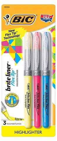 BIC® Brite Liner Highlighter, Flex Tip, 3ct - Multicolor