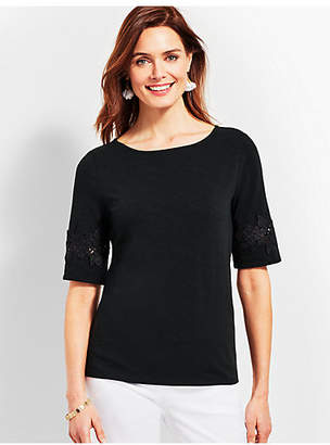 Talbots Lace-Trim Boatneck Tee