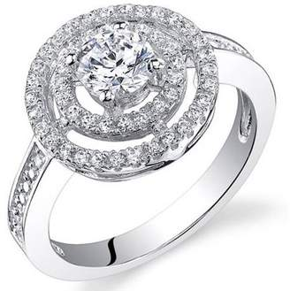 Oravo 1.13 Carat T.G.W. CZ Rhodium-Plated Sterling Silver Engagement Ring