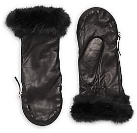 Carolina Amato Women's Faux Fur Trim Leather Mittens