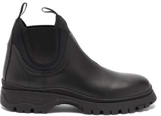 Prada Raised Sole Leather Chelsea Boots - Womens - Black