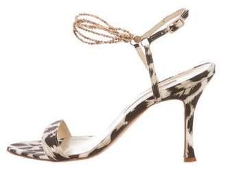 Manolo Blahnik Embellished Woven Sandals