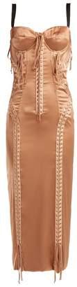 Dolce & Gabbana Laced Stretch Silk Satin Dress - Womens - Beige