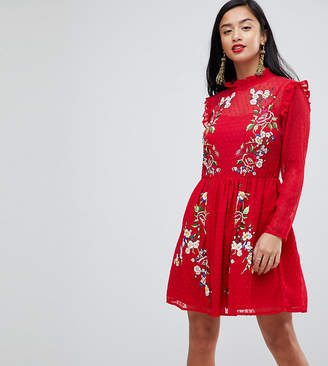 Asos Pretty Embroidered Mini Dress on Dobby