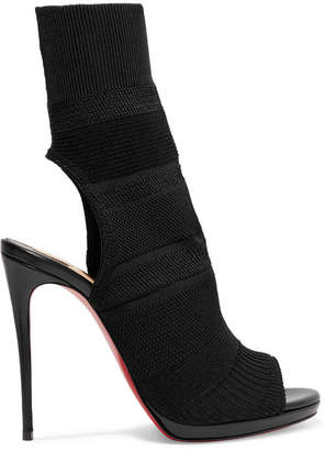 Christian Louboutin Cheminene 120 Cutout Stretch-knit Sock Boots - Black