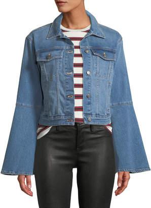 Joe's Jeans The Bell Sleeve Cropped Denim Trucker Jacket