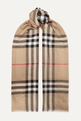 Burberry Frayed Checked Wool And Silk-blend Scarf - Beige