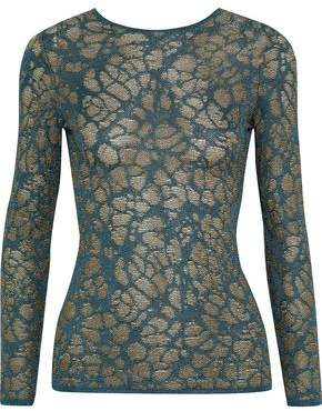 M Missoni Metallic Cutout Crochet-Knit Top
