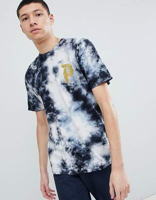 Primitive Bleach Wash T-Shirt With Large Back Print In Black