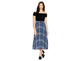 Donna Morgan Off the Shoulder Midi Dress w/ Pleated Skirt
