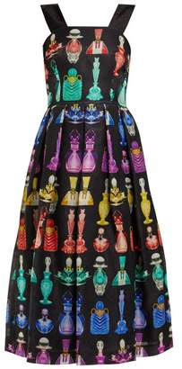 Mary Katrantzou Perfume Bottle Print Silk Moire Organza Midi Dress - Womens - Black Multi