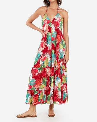Express Floral Deep V Halter Maxi Dress