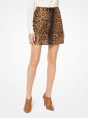 Michael Kors Leopard Calf Hair Mini Skirt