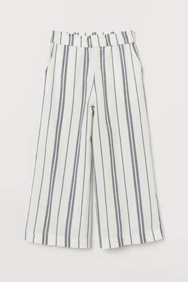 H&M Wide-cut Pull-on Pants - Blue
