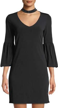 Velvet by Graham & Spencer Shirleen Embellished Choker-Neck Bell-Sleeve Dress