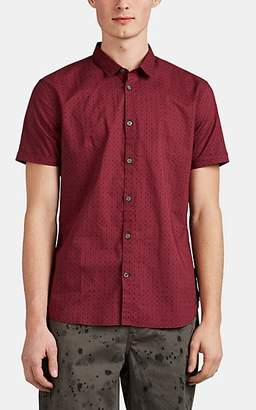 John Varvatos Men's Geometric-Floral Cotton Poplin Short-Sleeve Shirt - Red
