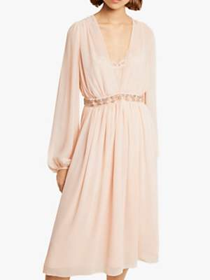 French Connection Alana Draped Sheer Midi Dress, Satin Slipper