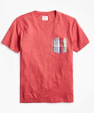 Brooks Brothers Slub Cotton Jersey Seersucker-Pocket T-Shirt