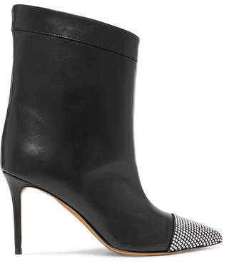 Alexandre Vauthier Cha Cha Crystal-embellished Leather Ankle Boots - Black