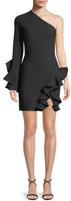 Cinq à Sept Pia One-Shoulder Long-Sleeve Cocktail Dress with Ruffles