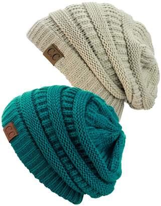 NYFASHION101 Trendy Warm Chunky Soft Stretch Cable Knit Slouchy Beanie Skully, Teal/Beige