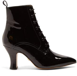 ALEXACHUNG Victoriana patent-leather lace-up boots