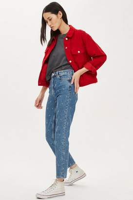 Topshop Mid Blue 'Girl Boy' Embroidered Jeans