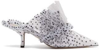 Midnight - Polka Dot Tulle And Pvc Mules - Womens - White Black