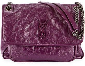 e846fb70c13 Saint Laurent Niki Medium Monogram Shiny Waxy Quilted Shoulder Bag