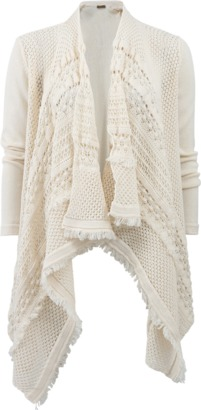 TWIN-SET Draped Crochet Cardigan $402 thestylecure.com