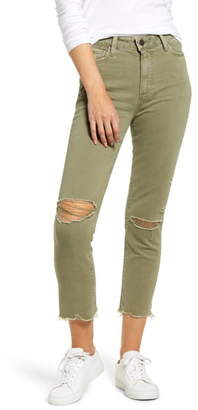 Paige Vintage - Hoxton High Waist Ripped Crop Slim Straight Leg Pants