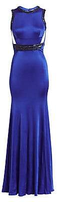 Roberto Cavalli Women's Crystal Detail Cutout Gown