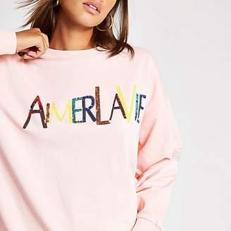 River Island Pink sequin slogan embellished sweatshirt