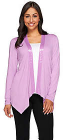 Joan Rivers Classics Collection Joan Rivers Jersey Knit Drape Front Cardigan w/Sequin Trim