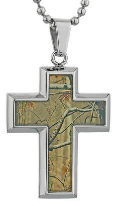 FINE JEWELRY Mens Stainless Steel and Camouflage Cross Pendant Necklace