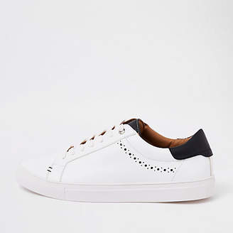 River Island White brogue punching detail sneakers