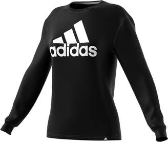 adidas Badge Of Sport Long Sleeve Crew Neck T-Shirt-Womens