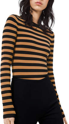 Michael Kors Long-Sleeve Striped Crewneck Bodysuit