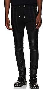 Balmain Men's Leather-Inset Cotton Sweatpants - Black
