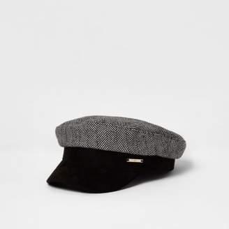 River Island Womens Grey herringbone print baker boy hat