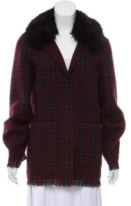 Prada Fur-Trimmed Plaid Jacket